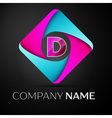 Letter D logo symbol in the colorful rhombus vector image vector image