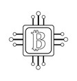 line square with circuit connection and botcoin vector image vector image