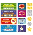 Lottery tickets of scratch and win with effect vector image vector image