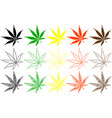 marijuana leaf color set vector image