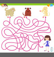 maze game with cartoon dogs and cute girl vector image vector image