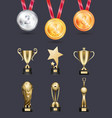 medal and achievements icons isolated collection vector image