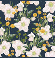 pattern with white anemone flowers and yellow herb vector image