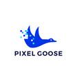 pixel goose technology digital logo icon vector image vector image