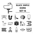 plumbing set icons in black style big collection vector image