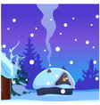 poster with cozy rustic small hunting lodge with vector image vector image