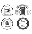 premium handmade clothes in tailor shop logotypes vector image