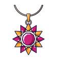 ruby necklace icon cartoon style vector image vector image