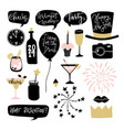 set hand drawn new year or birthday graphic vector image