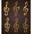 Set of golden decorative treble clef vector | Price: 1 Credit (USD $1)