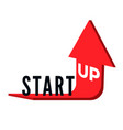 start up business concept text start up on red vector image vector image