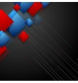 Tech geometric design with blue red squares vector image vector image