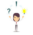 thinking people with question signs and light idea vector image