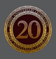 twentieth happy anniversary celebration symbol vector image vector image