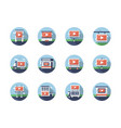 video marketing flat round icons set vector image vector image