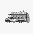 vintage bus with tourists two-story old retro vector image vector image