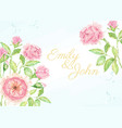 watercolor pink rose flower branch bouquet vector image vector image