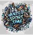 Winter sport time hand drawn cartoon doodles