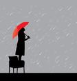 woman under rain vector image vector image