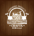 wood crafts label with log and jointer emblem for vector image vector image