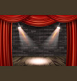 wooden stage with red curtains vector image vector image
