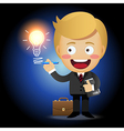 businessman holding pen drawing light bulb vector image