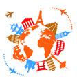 worlds famous travel landmarks vector image