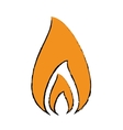 drawing fire flame burning hot design vector image