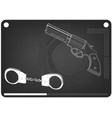 3d model of handcuffs and a revolver on a black vector image vector image
