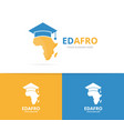 africa and graduate hat logo combination vector image vector image