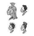 african national male hairstyles profile a man vector image vector image