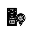 Alarm system black icon sign on isolated
