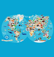 animal map world for children and kids vector image vector image