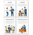 bad and good job business meeting and telephone vector image vector image