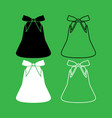 bell with bow ribbon set icon vector image vector image