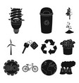 bio and ecology black icons in set collection for vector image vector image