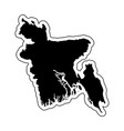 black silhouette of the country bangladesh vector image