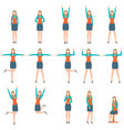 business woman in various simple exercise vector image vector image