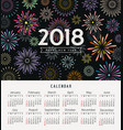 calendar happy new year 2018 colorful fireworks vector image