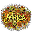 cartoon cute doodles africa word funny vector image