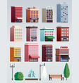 city street elements buildings set vector image vector image