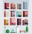 city street elements buildings set vector image
