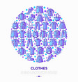 clothing concept in circle with thin line icons vector image vector image