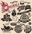 collection grill signs symbols labels vector image vector image