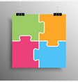 colour puzzle infographic 4 puzzle step square vector image vector image