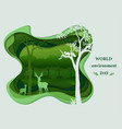 deer family silhouettes in forest landscape vector image