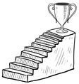 doodle stairway reward trophy vector image vector image