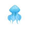 flat icon of bright blue jellyfish marine vector image vector image