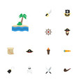flat icons corsair treasure map vessel and other vector image vector image