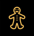 gingerbread cookie man simple flat icon vector image